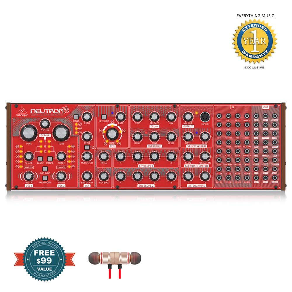 Behringer Neutron Paraphonic Analog and Semi-Modular Synthesizer includes Free Wireless Earbuds - Stereo Bluetooth In-ear and 1 Year Everything Music Extended Warranty by COR