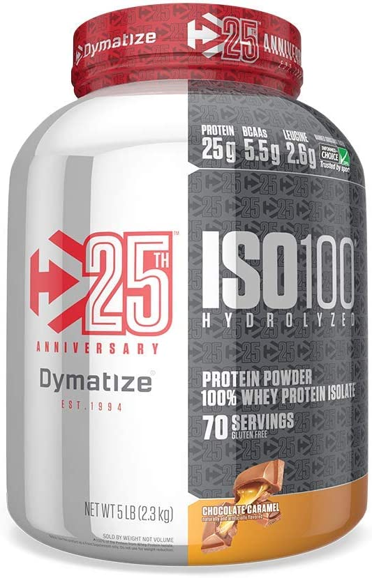 Limited Time Offer Dymatize Iso 100 Whey Protein Powder with 25g of Hydrolyzed 100 Whey Isolate, Gluten Free, Fast Digesting, Chocolate Caramel, 5 Lb
