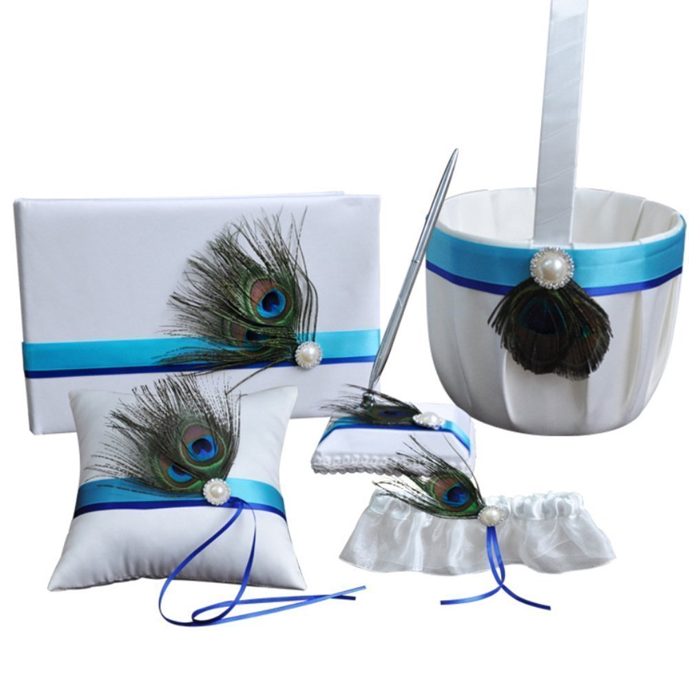 5Pcs Wedding Ceremony Romantic Decor Sets, Peacock Feather Rustic Wedding Party Favor Decoration Kits, Ring Pillow+ Girls Flower Basket +Guest Book +Pen Set + Garter for Wedding Baby Shower Party
