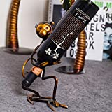 Tooarts Monkey Metal Sculpture Crafts Wine Bottle Holder Rack, 3 Funny Design