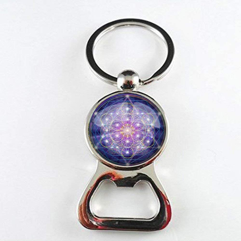 Abridor de botellas psicodélico de geometría sagrada de cristal para arte fotográfico, joyería hecha a mano