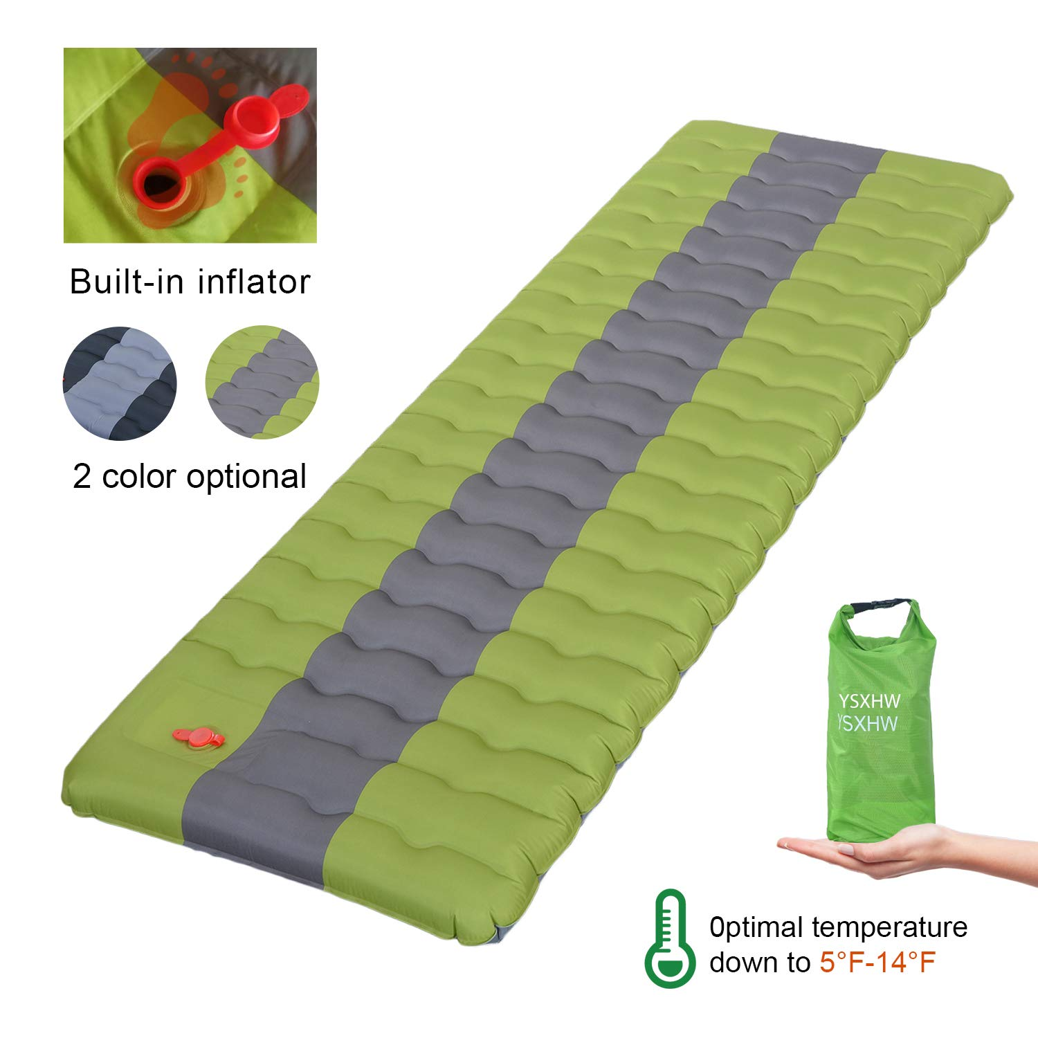 YSXHW Self Inflating Camping Pads Thick 4.7 Inch Lightweight Camping Sleeping Pad Ultralight,Compact,Waterproof PVC Inflatable Mat for Tent, Hiking and Backpacking - Green Built in Pump by YSXHW