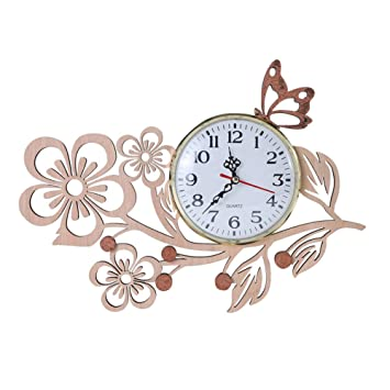 Amazon.com: Giftgarden Butterfly Wall Clocks in Wood Five Petaled ...