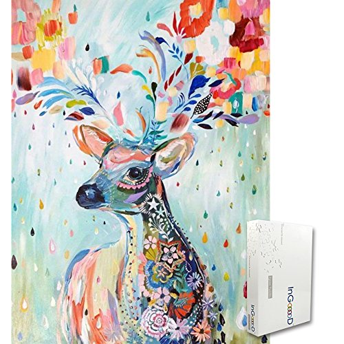 Ingooood Jigsaw puzzle- Painting Series- Flower Raindrop Colourful Deer - 1000 Pieces for Adult