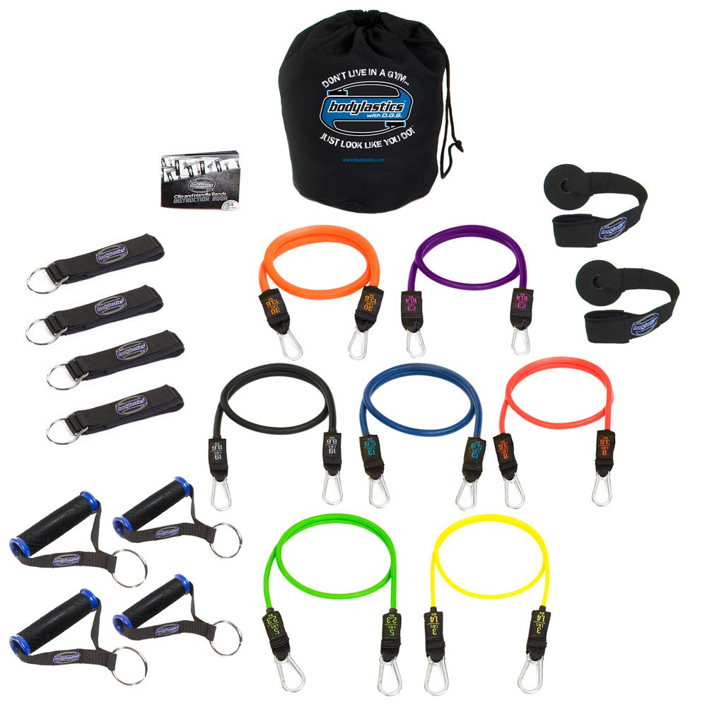 Bodylastics Stackable (19 Pcs) MAX XT Strong Man Resistance Bands Sets. This Leading Exercise Band System Includes 7 of Our Anti-Snap Exercise Tubes, Heavy Duty Components, and a Bag
