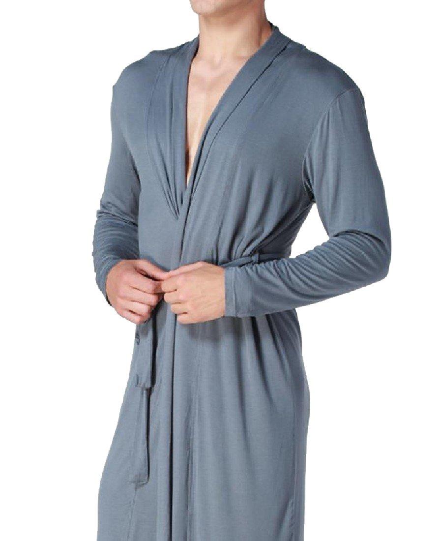 NestYu Men's Fine Cotton Tie Waist Flirt Oversized Loungewear Robe Grey M