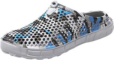 Men's Casual Camo Flip Flops, Antiskid Flats Platform Slippers Lightweight Breathable Beach Hole Shoes Sandals Size 7.5-10