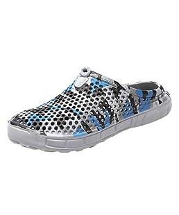 Men's Casual Camo Flip Flops, Antiskid Flats Platform Slippers Lightweight Breathable Beach Hole Shoes Sandals Size 7.5-10 (Gray, US:9)