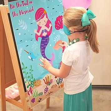 Amazon.com: Aparty4u Pin The Tail on The Mermaid Juegos de ...