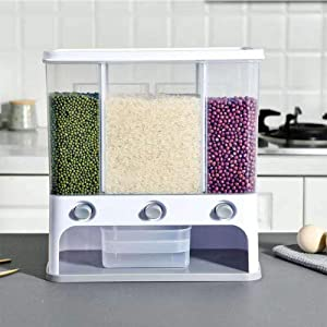Wall Mounted Dry Food Dispenser - Whole Grains Rice Bucket Rice Storage Tank, Space Saving Containers for Convenient Storage of Rice Nuts Beans Candy and Free Control of Food Output