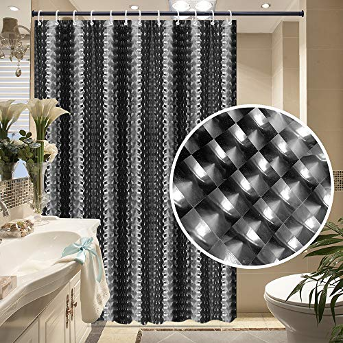 (Frebw EVA Shower Curtain Liner with 12 Free Hooks, Waterproof 71x71-Inch, Eco-Friendly Bathroom Curtains)