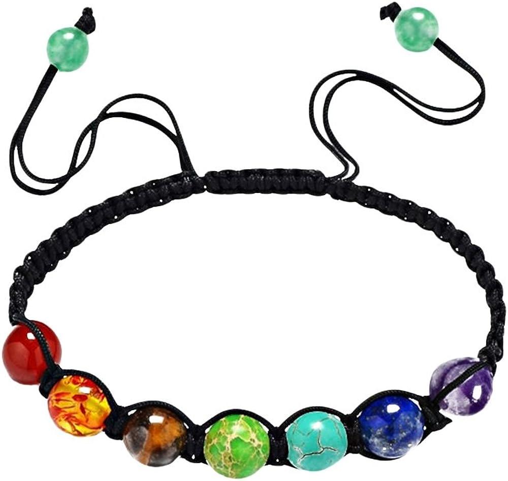 Pinzhi 7 Chakra Healing Balance Pulsera con cuentas Braided Yoga Reiki Piedras naturales de gema