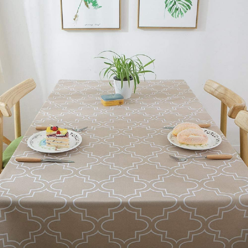 "Lamberia Tablecloth Waterproof Spillproof Polyester Fabric Table Cover for Kitchen Dinning Tabletop Decoration (Khaki, 60""x84"")"