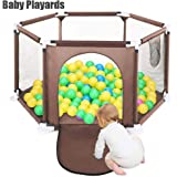 Baby Playpen Foldable Playard Baby Kids Play pens 6 Panel Kids Activity Center Room Fitted Floor(Not Include Ocean Ball) (coffee)