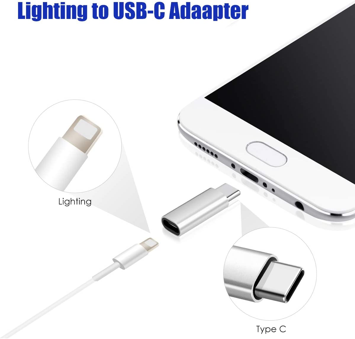 OnePlus 8 2 Pack, Silver Lighting XL BabyElf USB-C Adapter to USB-C Adapter for Charging Galaxy S20 Note 10 Pixel 4 Female