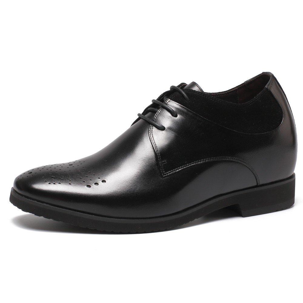 CHAMARIPA Aufzug Männer Höhe erhöhen Arbeit Leder Oxford Schuhe Business Arbeit erhöhen Büro Hochzeit Schnürschuhe-Unsichtbare Ferse 10cm -H71X71V011D Schwarz a26db2