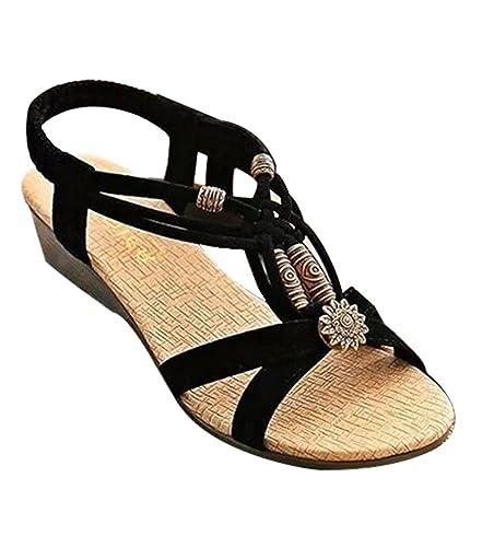 54c94cfaa29 YOUJIA Women s Bohemian Beaded Peep Toe Ankle Strap Sandal Elestic  Slingback T-Strap Wedge Sandals