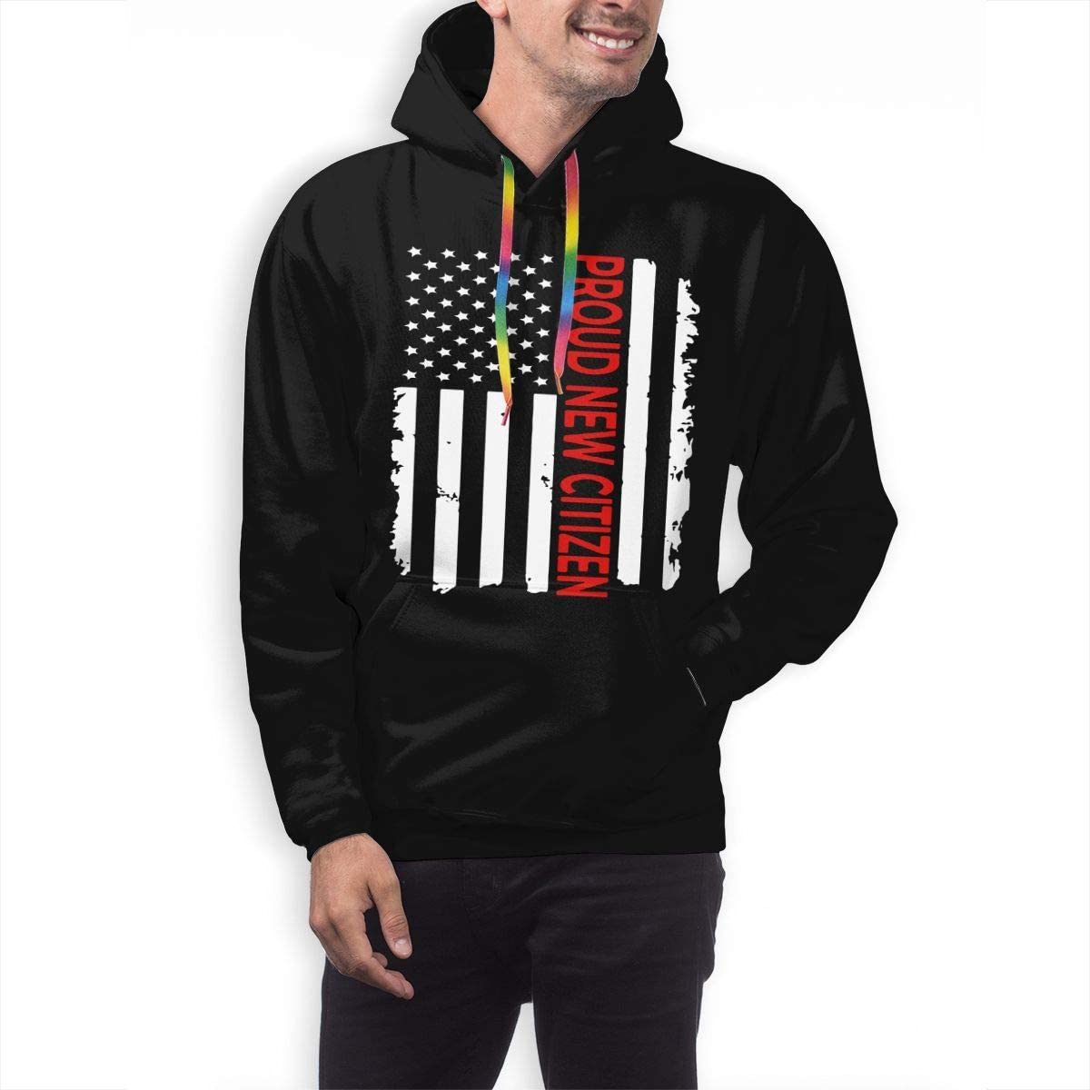 Proud New American Citizen Mens Hooded Sweatshirts Pullovers Long Sleeve Tops