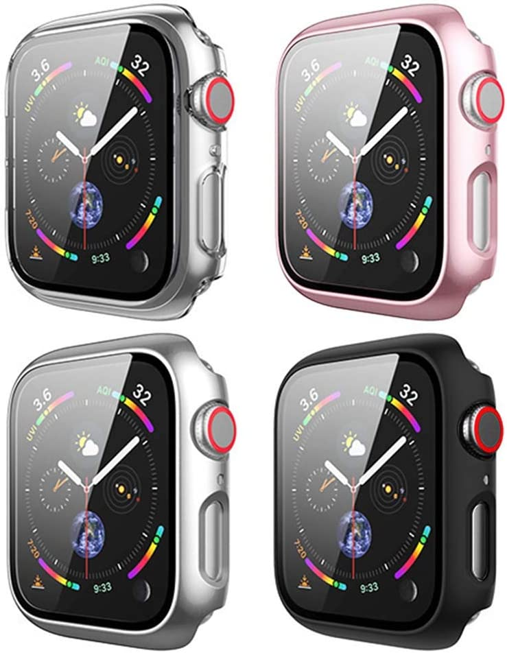 [4Pack] BOTOMALL Case with Tempered Glass Screen Protector Compatible for Apple Watch Series 3/2/1 Full Coverage Slim Guard Lightweight Protective Cover for iWatch 42mm