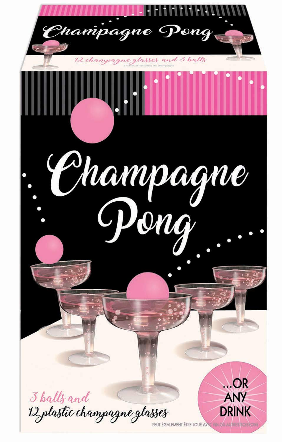 Champagne Prosecco Pong Luxury Kit - Alternative to Beer Pong Game Set - for Birthday, Bachelor, Bachelorette, New Years, Celebration, Party Gift - 12 Plastic Cups and 3 Pink Balls by Luxury Pong Kits