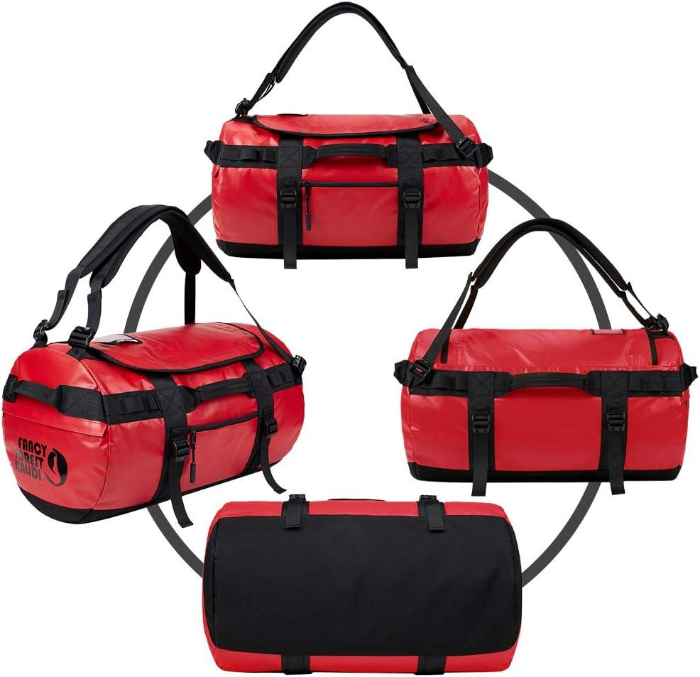 Resistente al Agua para Camping Viajes Senderismo Rojo, 50L KALIDI Bolsa de Deporte Gimnasio