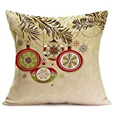 Merry Christmas Pgojuni Linen Pillowcase Decoration Accent Throw Pillow Cover Cushion Cover for Couch/Sofa 1pc 45X45 cm (L)