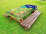 Lunarable Happy Camper Outdoor Tablecloth, Summer Cartoon with a Family Enjoying Outdoors with a Bonfire Food and Tent, Decorative Washable Picnic Table Cloth, 58 X 120 inches, Multicolor