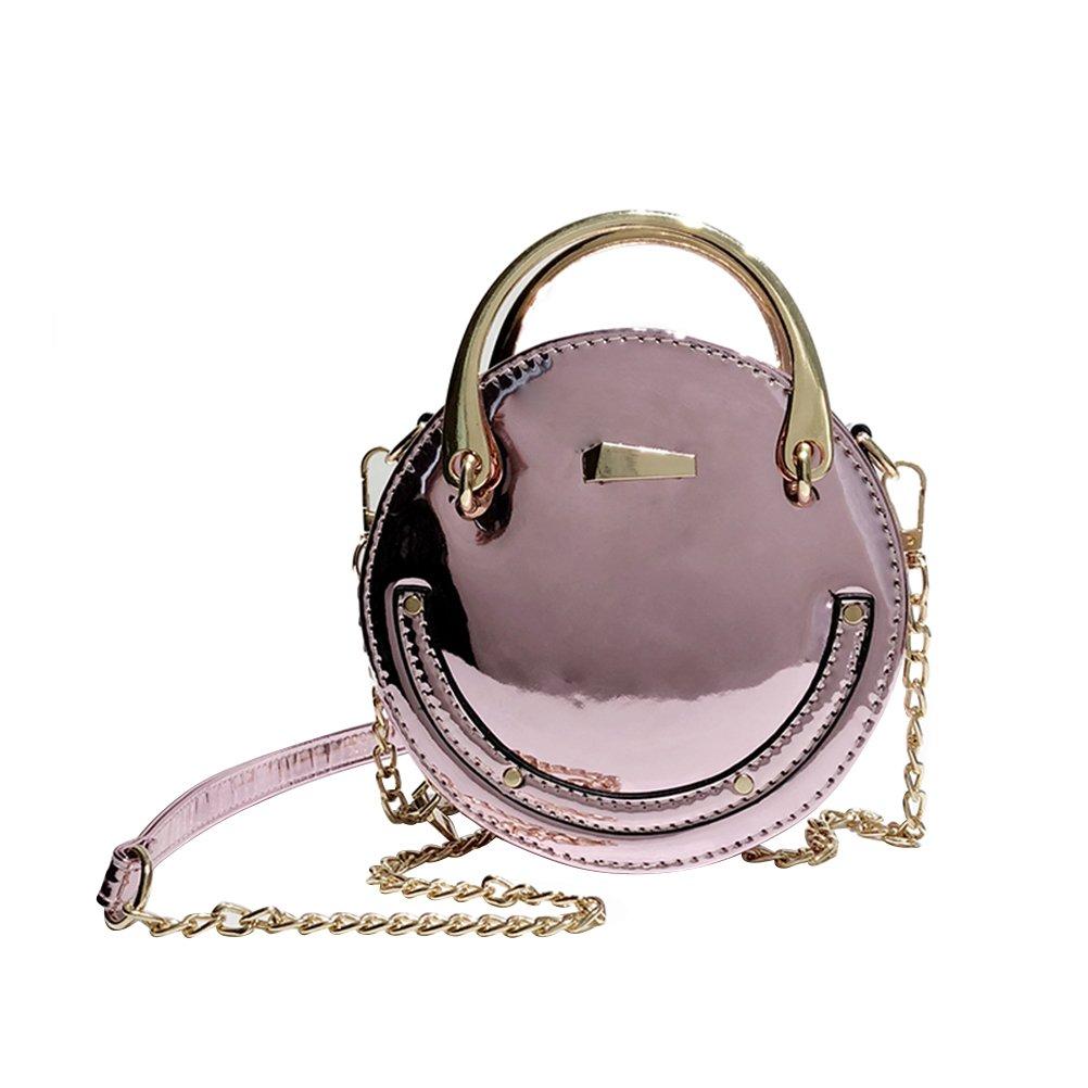 8ff881fc1727a9 BESTOYARD Klassische Shiny PU Leder Kette Umhängetaschen Cross-Body Daypack  Casual Handtasche Runde Form Taschen für Frauen Mädchen (Pink): Amazon.de:  ...