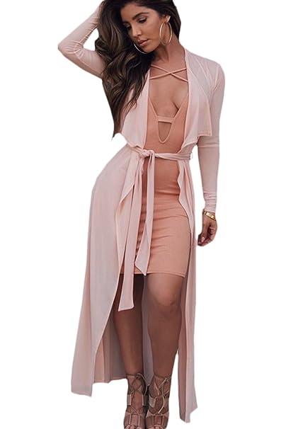 410cabe67a1a3e Le Donne Eleganti Vestiti Casual Aperto Fronte Cardigan Con Cintura Pink M:  Amazon.it: Abbigliamento