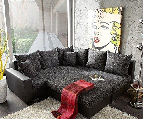 Couch Lavello mit Hocker Ecksofa L-Sofa (Eckcouch Rechts mit Hocker, Schwarz/Schwarz)