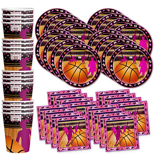 (Pink Basketball Girl Birthday Party Supplies Set Plates Napkins Cups Tableware Kit for)