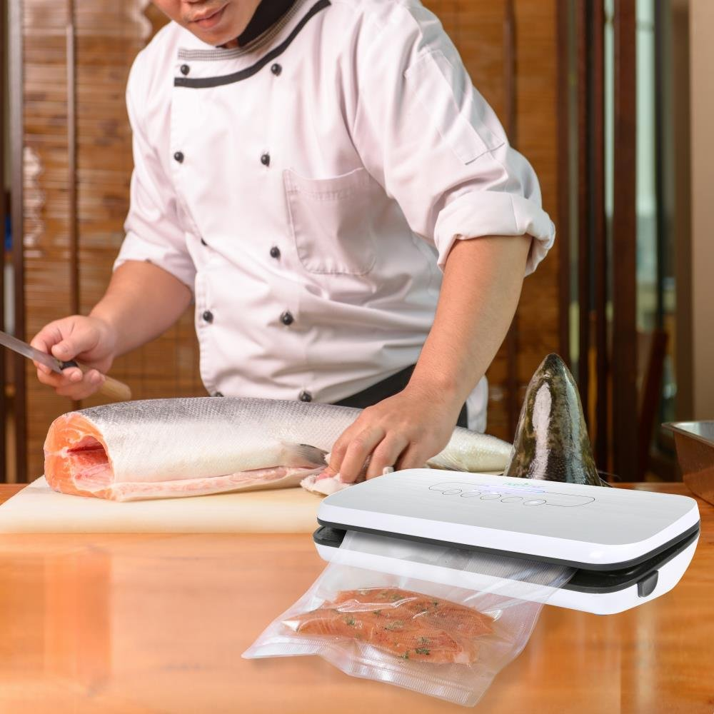 Vacuum Sealer By NutriChef | Automatic Vacuum Air Sealing System For Food Preservation w/ Starter Kit | Compact Design | Lab Tested | Dry & Moist Food Modes | Led Indicator Lights (Silver) by NutriChef (Image #6)