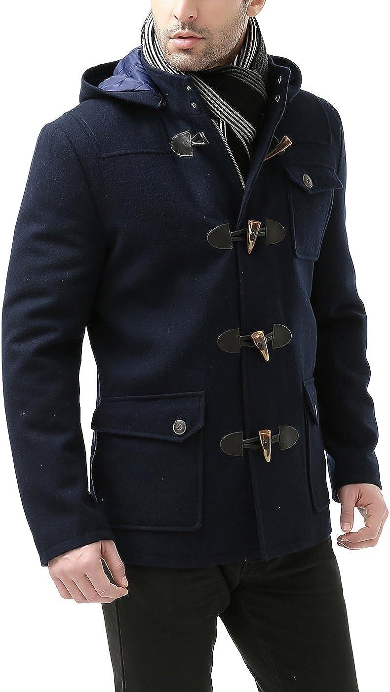 BGSD Mens Nathan Wool Blend Patch Pocket Short Toggle Coat
