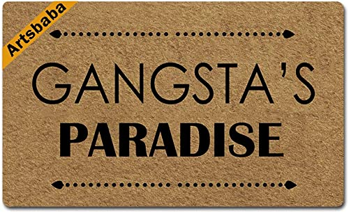 Artsbaba Welcome Doormat Gangstas Paradise Door Mat Rubber Non-Slip Entrance Rug Floor Door Mat Funny Home Decor Indoor Mat 30 x 18 Inches