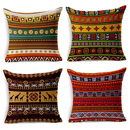 Home Decor Fabric (VOGOL 4-Pack Cotton Linen Sofa Home Decor Design Throw Pillow Case Cushion Covers Square 18 Inch, Set of 4 Ethnic African Style Series)