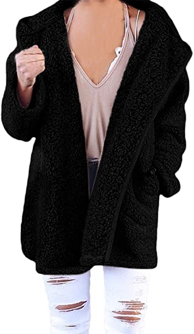 Women Soft Fleece Hooded Fluffy Sweatshirt Hoodies Winter Jumper Coat Plus CA