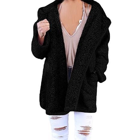 XOWRTE Womens Soft Teddy Long Sleeve Hooded Jacket Coat Jumper with Pocket at Amazon Womens Coats Shop