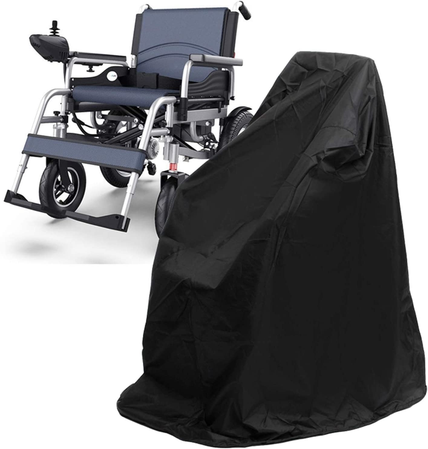 Funda for Scooter de Movilidad Lluvia Impermeable Sillas de Ruedas Plegables manuales eléctricas Cubierta de Lluvia al Aire Libre GHHQQZ (Color : Negro, Size : 118x72x120cm)