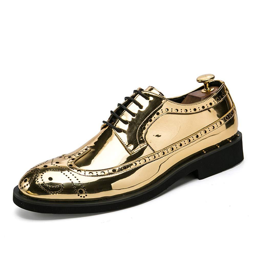 Xujw-schuhe, 2018 Schuhe Gravierte Herren Herrenmode Persönlichkeit Retro Gravierte Schuhe Bunte Lackleder Brogue Schuhe Für Hochzeit Kleid (Farbe : Silver, Größe : 40 EU) Gold 87d66c