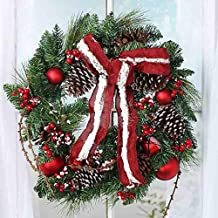 Factory Direct Craft Frosted Artificial Pine, Red Ball Ornament and Jingle Bell Wreath for Holiday and Home Decor