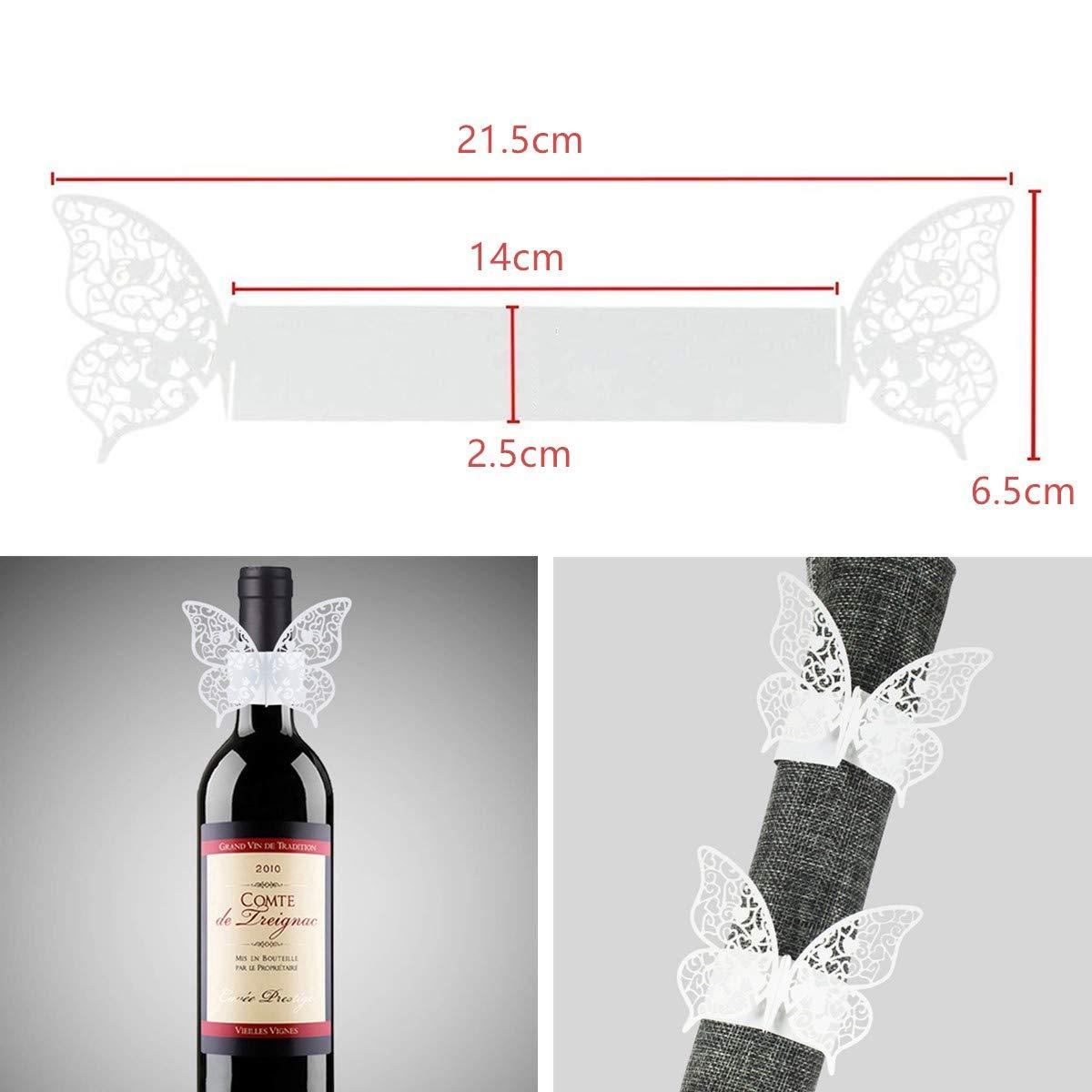 cumplea/ños Servilletas de papel 3D con dise/ño de mariposa y mariposas Navidad rosa y blanco A/ño Nuevo con dise/ño hueco para bodas comuniones corte l/áser fiestas 60 unidades