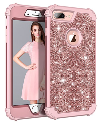 Lontect Compatible iPhone 8 Plus Case Glitter Sparkle Bling Heavy Duty Hybrid Sturdy Armor High Impact Shockproof Protective Cover Case for Apple iPhone 8 Plus/iPhone 7 Plus, Shiny Rose Gold