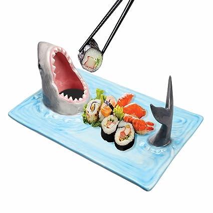 Tiburón Attack Sushi bandeja de cerámica pintado a mano