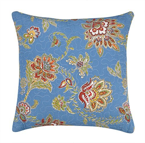 Laurel & Mayfair Jacobean Quilted Decorative Pillow, 14 by 14-Inch, Blue [並行輸入品] B07R6ZBFDW