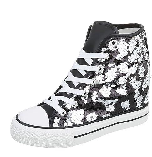 Blanco Store Sneakers Donna con Rialzo Interno e Paillettes NeroArgento