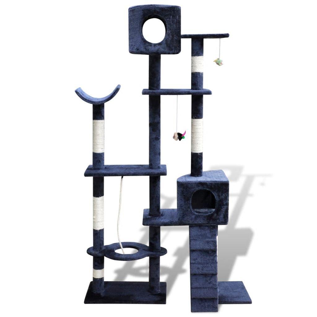 Dark bluee Daonanba Cat Scratcher Post Safe Cat Tree Cat Play Center Pet Supply 175 cm 2 Condos Grey with Pawprints
