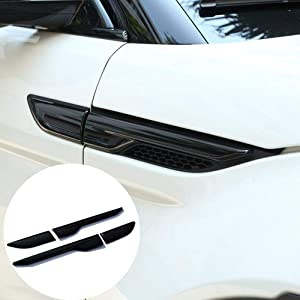 YIWANG ABS Chrome Side Door Fender Air Vent Outlet Trim for Land Rover Range Rover Evoque 2012-2018 Car Accessories (Gloss Black)
