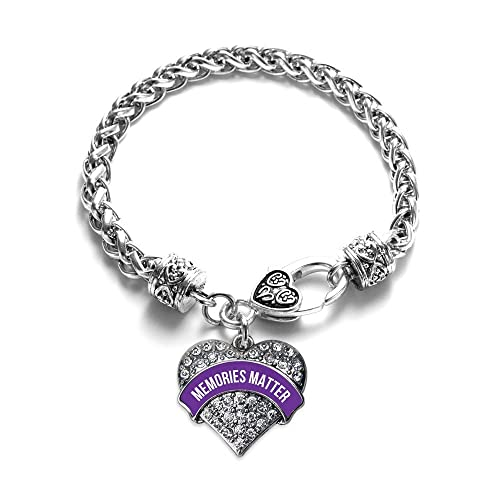 ae36b2d7c3b Image Unavailable. Image not available for. Color: Inspired Silver Memories  Matter Alzheimer's Awareness Pave Heart Clear Cystal Charm Bracelet