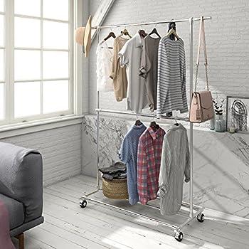 Amazon Com Allzone Adjustable Closet Rod Double Rail
