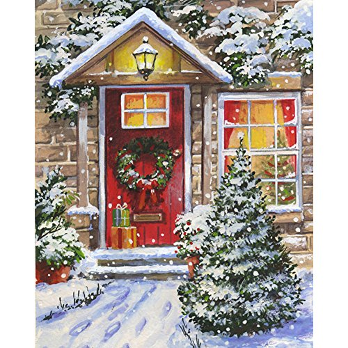 RainBabe Handmade Digital Snowy Night Painting DIY Paint By Number Kit for Drawing Beginner